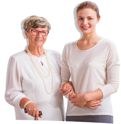 Caregiver holding the arms of an elderly person